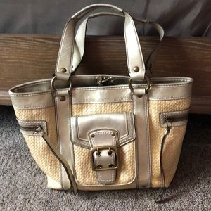 Coach Legacy Straw and Leather Gold Coach Bag